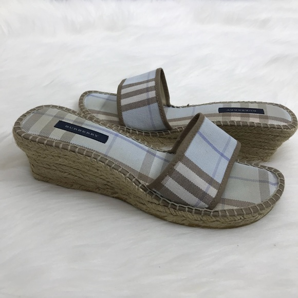 a237a54f64f Burberry Shoes - Burberry Blue Check Espadrille Wedge Sandals